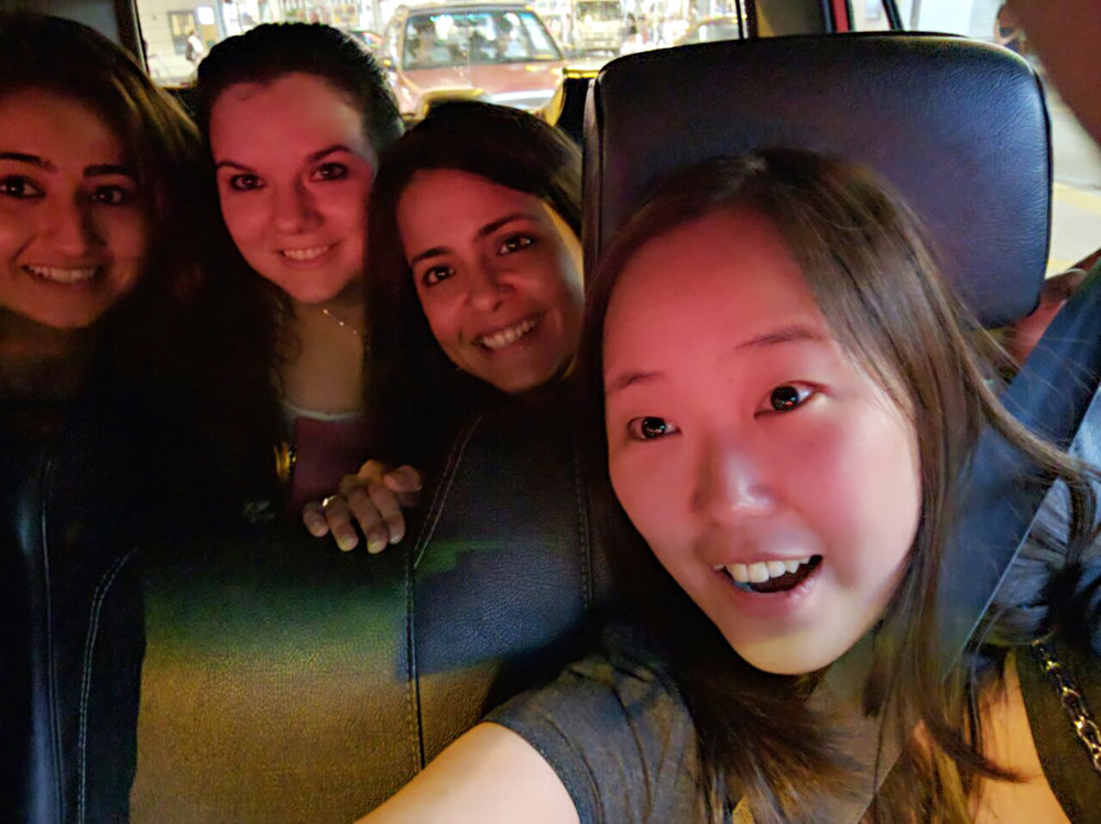 Going local – heading back to campus from Mong Kok. Left to right: Mehak, Yulia, Mandakini, Eunice.