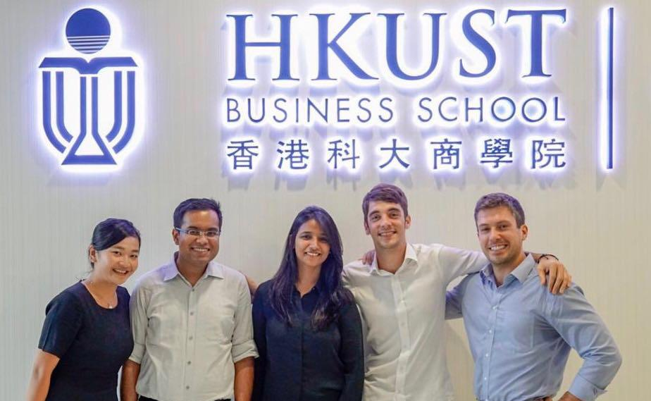 Founding Board of the HKUST FinTech Club (from left to right): Fifi Lu, Puranjai Mahapatra, Vandana Jain, Julien Harmonic and Phillip Bonarigo.