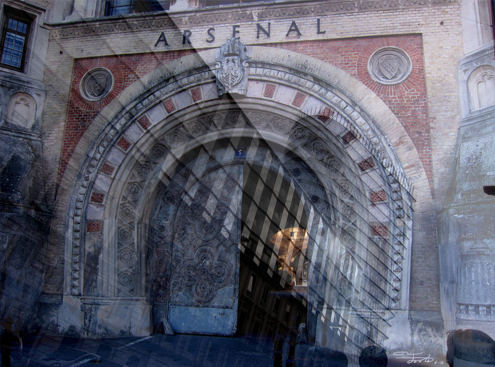 """Arsenal."" - Photo Overlay. 2016.  Vienna.    ""This overlay is composed of the outer gate of the 1850s era Vienna Arsenal with the modern architecture of downtown.  The Arsenal itself has been converted to Museum of Military History.  The one door combined with the flowing lines of modern buildings symbolizes an opportunity to either embrace the past or move forward into moderninity."""