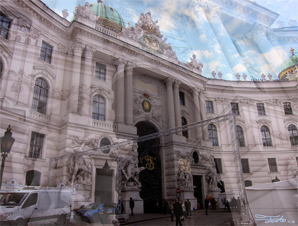 """Winter at the Palace."" - Photo Overlay. 2016. Vienna.    ""Winter preparations for the Hofburg Palace have begun in November, as seen by the scaffolding.  The eastern entrance to the palace is contrasted by both the interior meeting the sky as well as the modern vehicles and equipment preparing the palace for Christmas."""