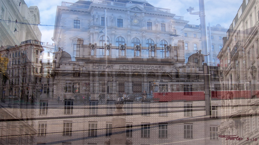 """Postparkasse."" - Photo Overlay. 2016. Vienna.     "" The Postparkasse is a famous modernist building designed by Otto Wagner.  The building itself is very striking in person and upon seeing it, I knew I had to create something with it.  The building itself is the headquarters for the   Österreichische Postsparkasse, which is the Austrian Postal Savings Bank.  To contrast the strong architecture of the Postparkasse, I've overlayed a typical street scene.  This breaks up the angles and also adds a Ringstrasse tram."""