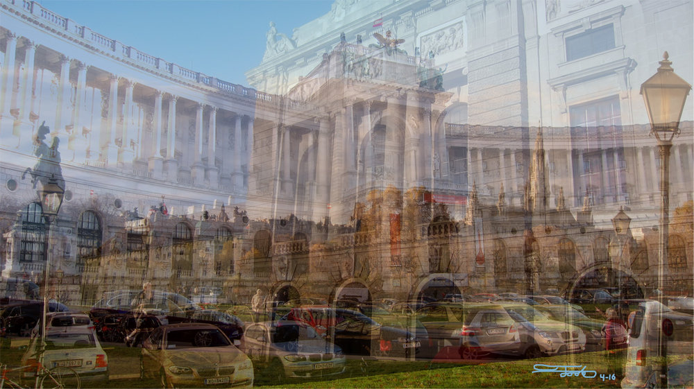 """The Parking Lot of Dreams."" - Triple Photo Overlay. 2016. Vienna.    ""This is a rare triple overlay of a parking lot combined with three palaces."""