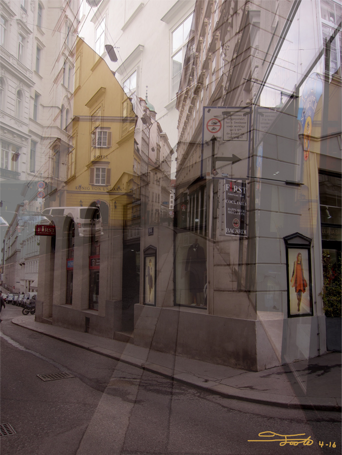 """Vienna Street."" - Photo Overlay. 2016. Vienna.    ""Downtown Vienna has many twisting pathways and tiny streets lined with shops.  They're not all as confusing as this one, an overlay taken during my first day in Vienna after very little sleep."""