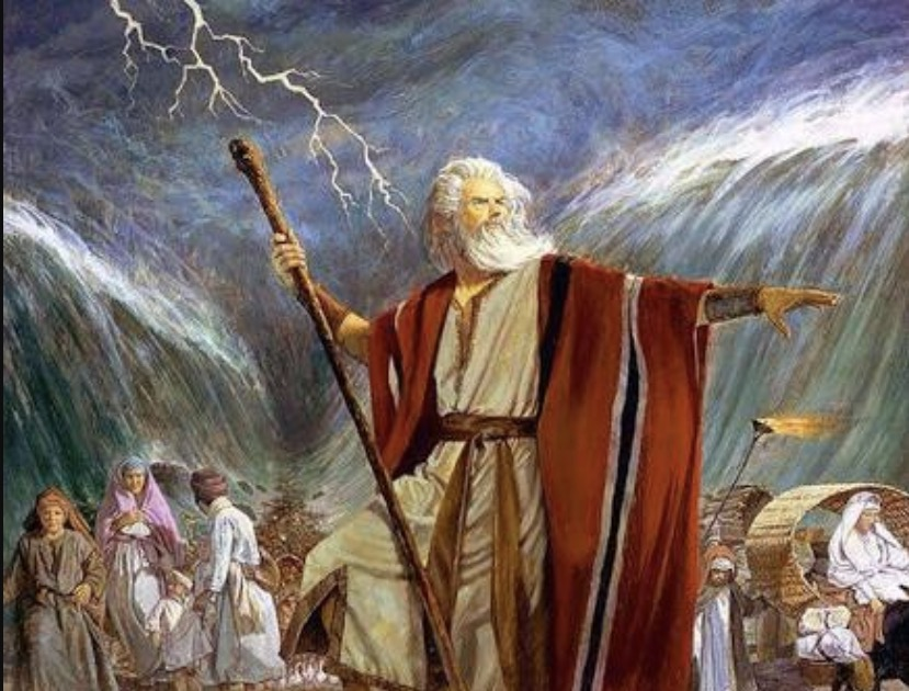 Moses passing the Red Sea.