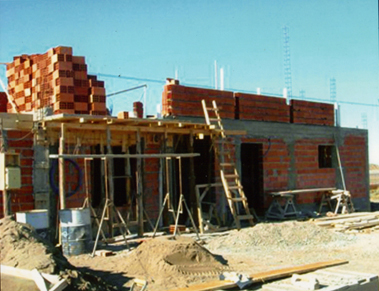 private house in Patagonia, Argentina; construction stage