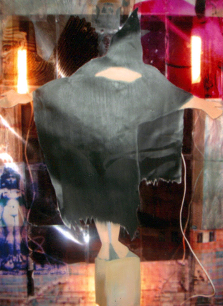 'Tribute to the Tortured Soldiers at Abu Ghraib Prison' 2004; life size light box: printed acétate, electric wires, néon lights, black canvas, wooden frame