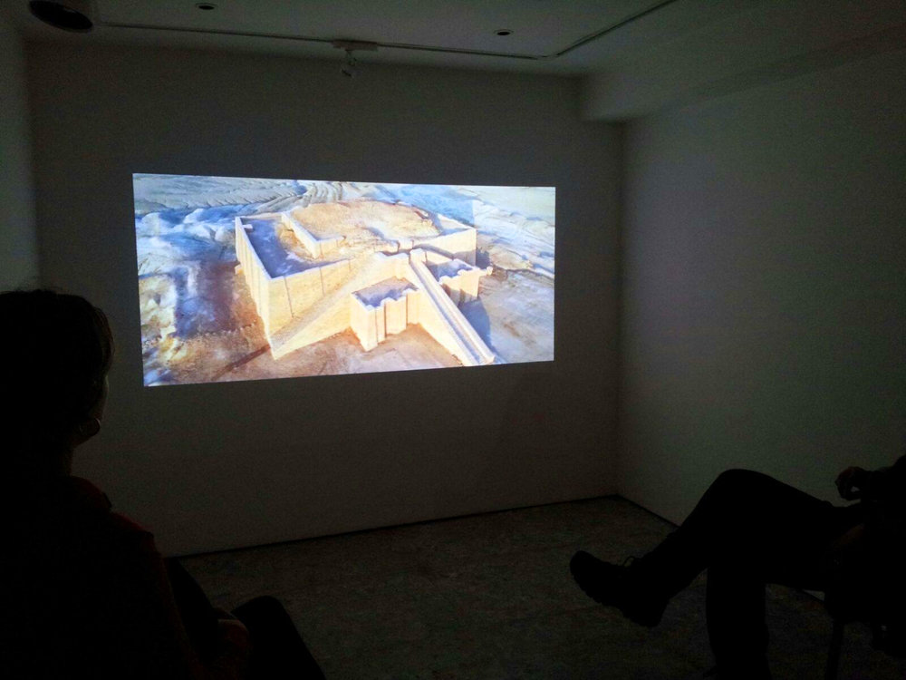 video projection of 'Drone and Ziggurat of Ur' ©Hanaa Malallah