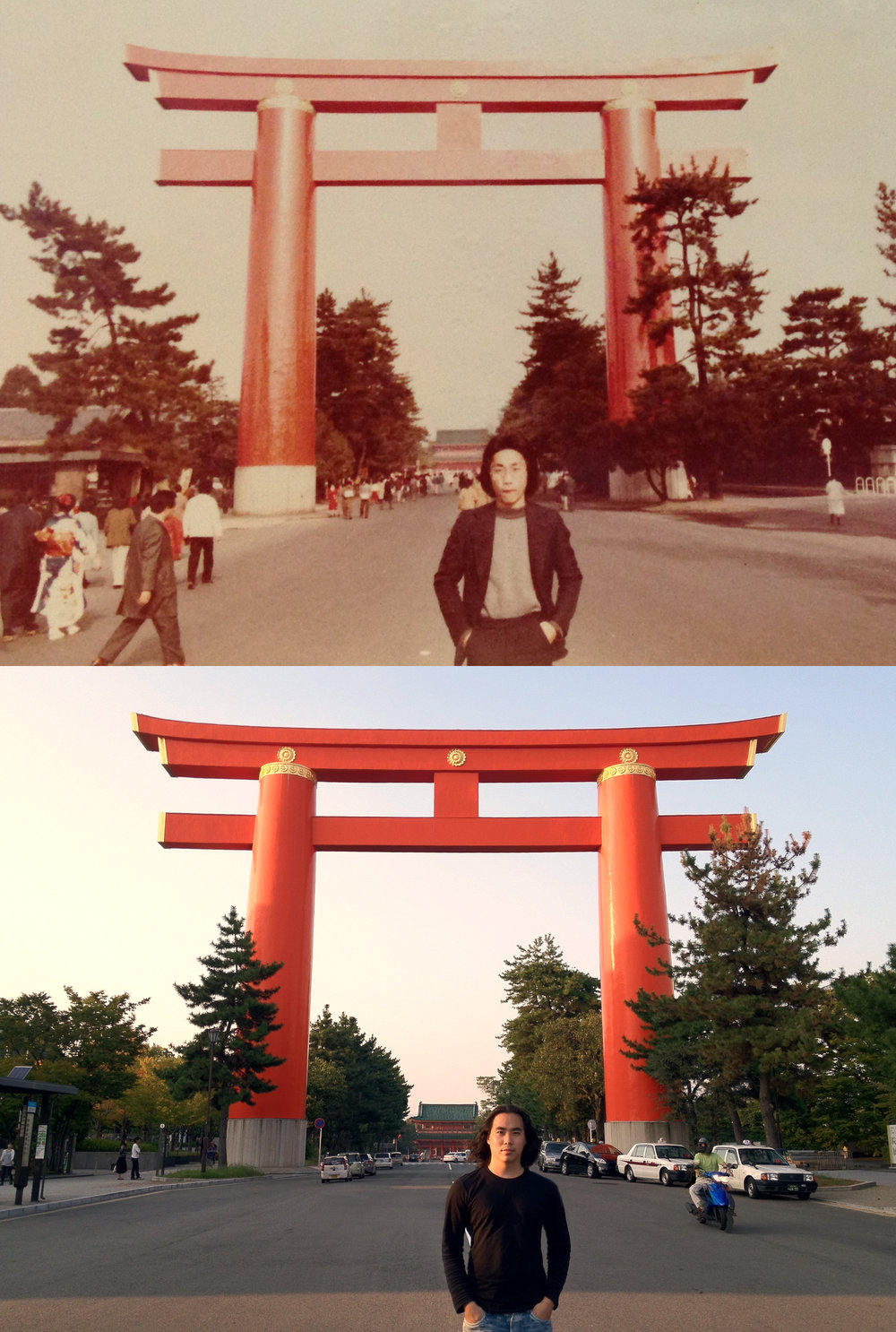 Above: Dad,1979.Below: Me, 2013 at Heian Shrine.