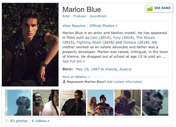 Marlon Blue Actor Model Citizen Magazine, Goitaca Movie, 1603 Movie, Marlon Blue Wikipedia, Marlon Blue IMDB