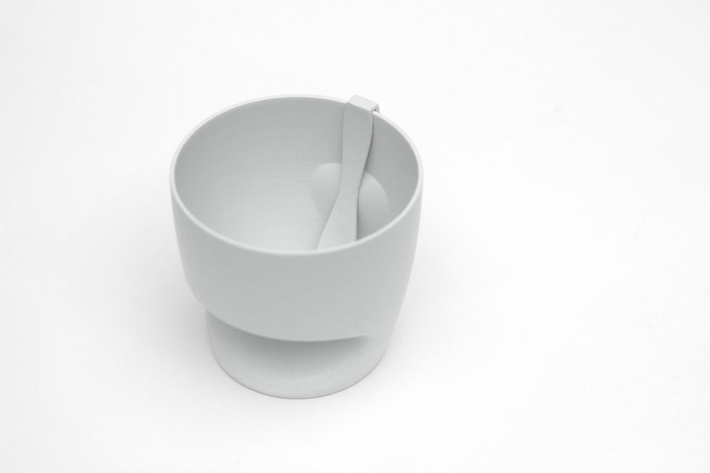 Yogurt cup & spoon set inspired by roto-form. 3D print.