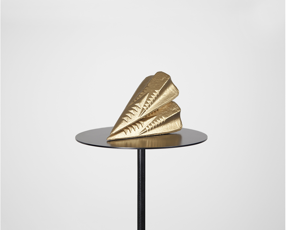 U) Monuments No.03 concrete, gold paint, black steel plinth Edition of 3 2015
