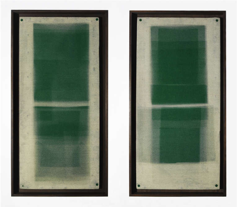 L) Forms in Green, Diptych Unique Photograms, 2012