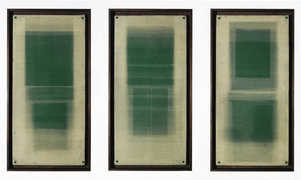 Forms in Green, Triptych  Unique Photograms, 2012