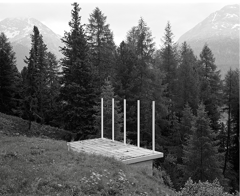 E) Platform at Pontresina Installation, Pontresina, Switzerland Framed black and white photograph 2015