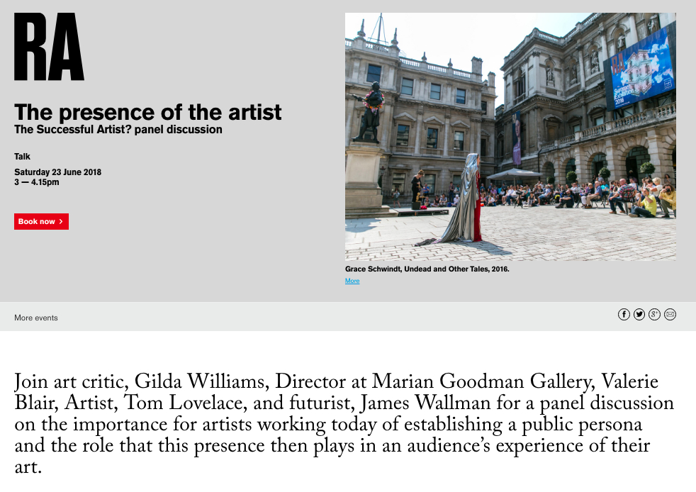 https://www.royalacademy.org.uk/event/the-successful-artist-presence-of-the-artist   Participating in The presence of the artist at the Royal Academy, London