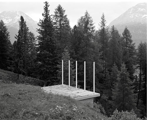 Platform at Pontresina, 2015   Installation and Black and White Photograph