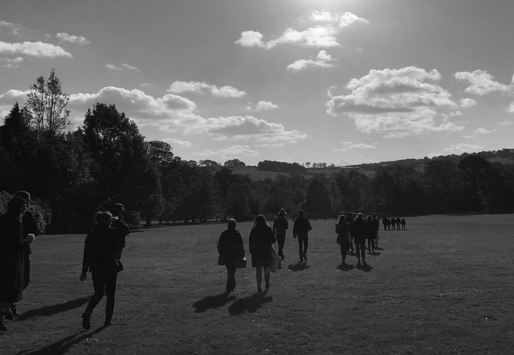 Dazzle Site, Walking Performance. A collaboration with Richard Flowerday.    Yorkshire Sculpture Park, 2017