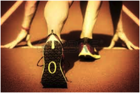 A sprinter prepares to explode off of his toes. Do the same at the end of each step.