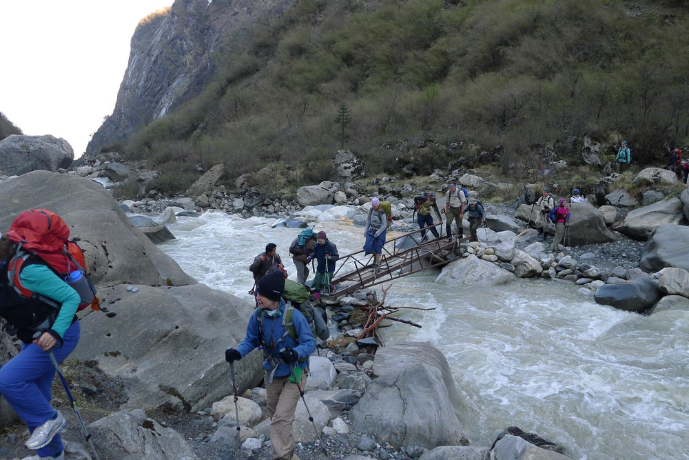 Crossing An Iffy Bridge in Nepal