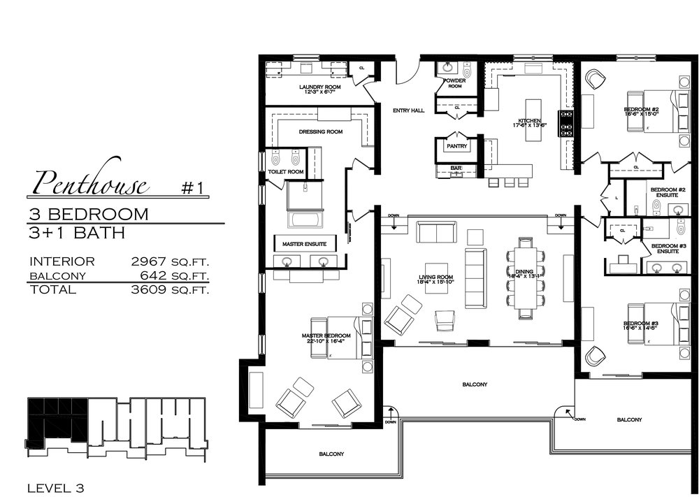 Penthouse 1 - $1,995,000 3 Bedroom, 3.5 Bathroom - 3,609 sq. ft.