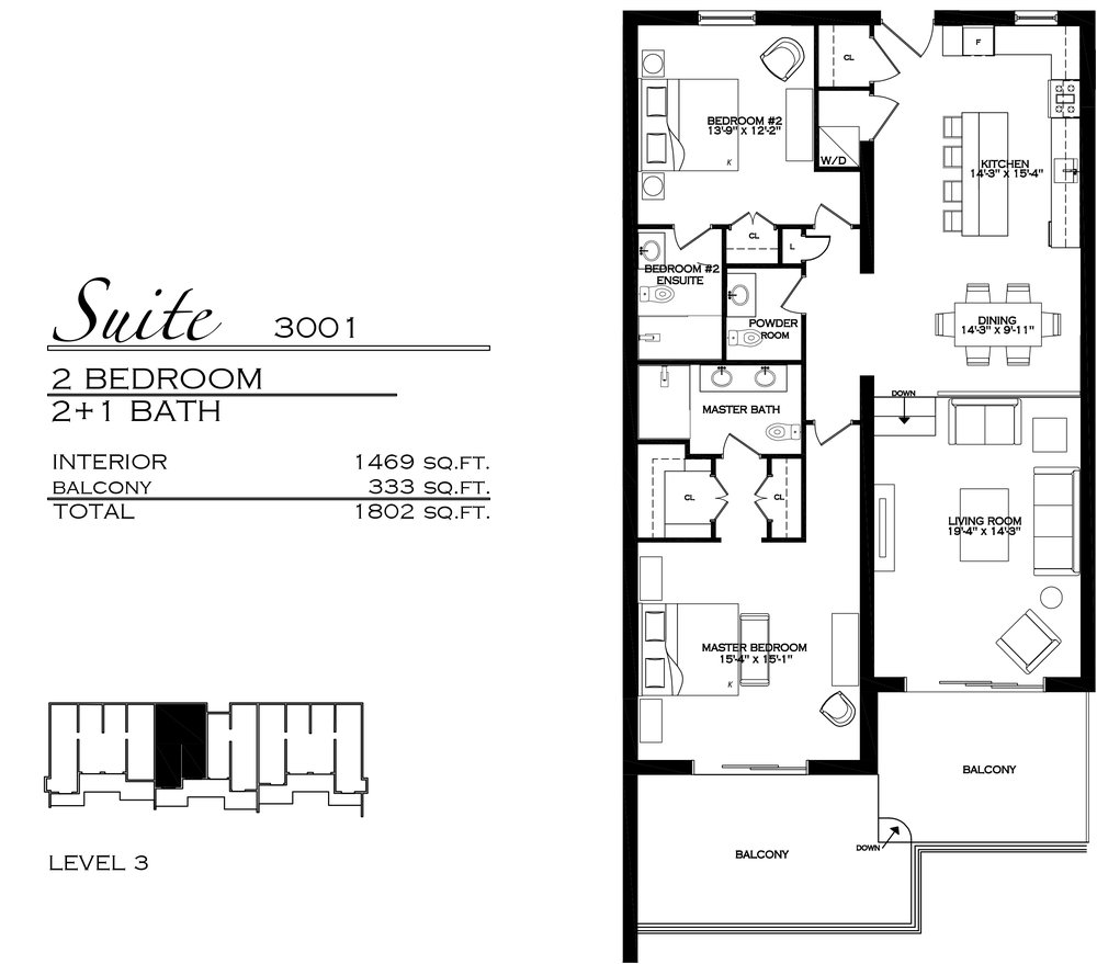 Suite 3001 - $990,000 2 Bedroom, 2.5 Bathroom - 1,802 sq. ft.