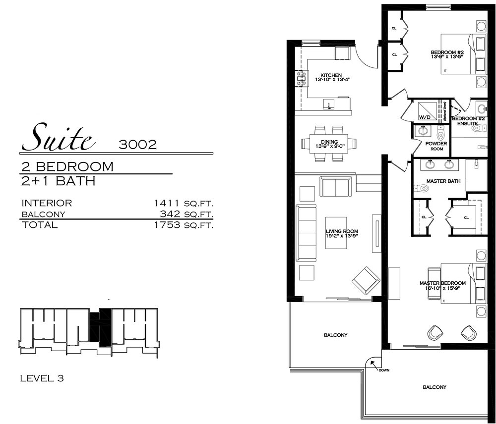 Suite 3002 - $970,000 2 Bedroom, 2.5 Bathroom - 1,753 sq. ft.