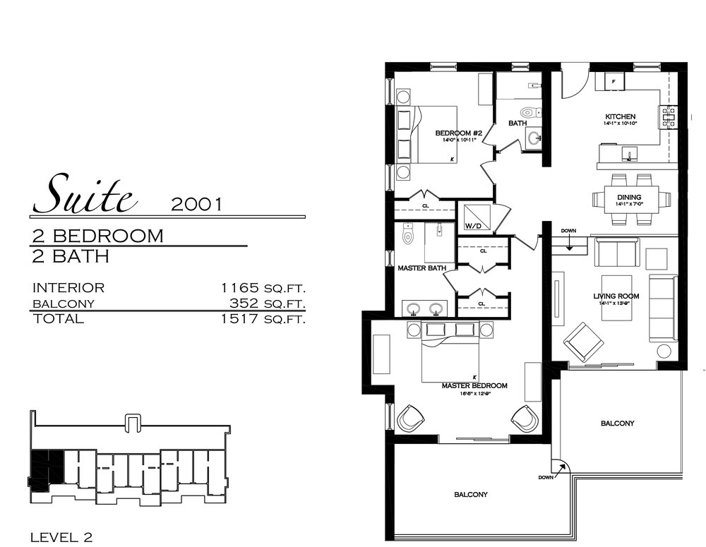 Suite 2001 - $795,000 2 Bedroom, 2 Bathroom - 1,517 sq. ft.