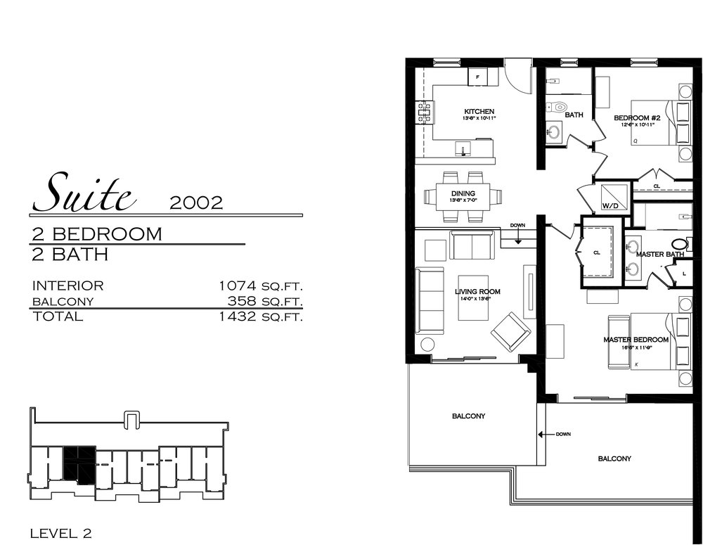 Suite 2002 - $735,000 2 Bedroom, 2 Bathroom - 1,432 sq. ft.