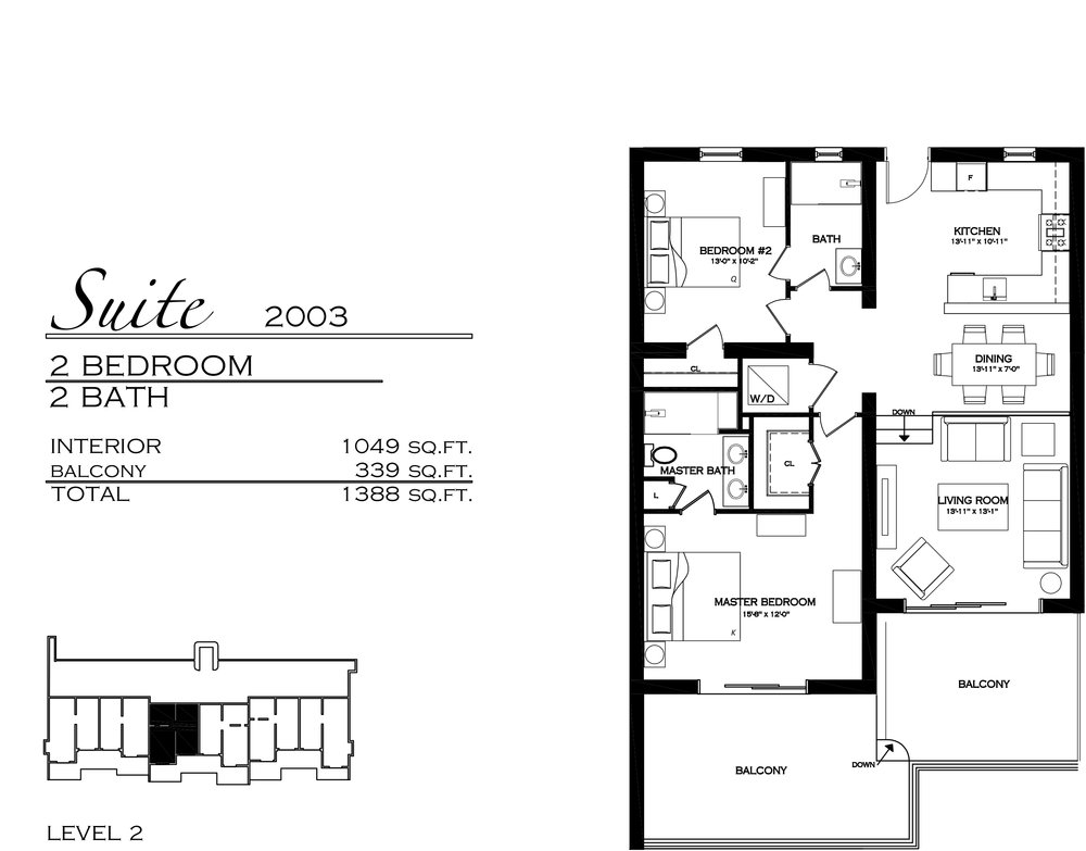 Suite 2003 - $715,000 2 Bedroom, 2 Bathroom - 1,388 sq. ft.