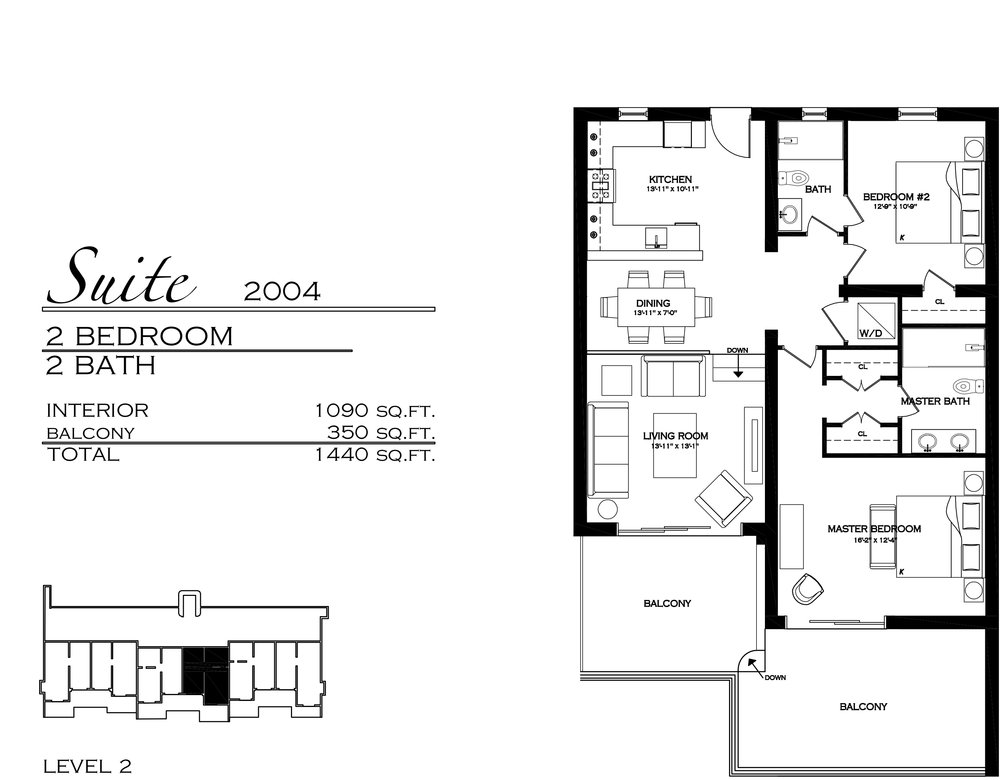 Suite 2004 - $745,000 2 Bedroom, 2 Bathroom - 1,440 sq. ft.