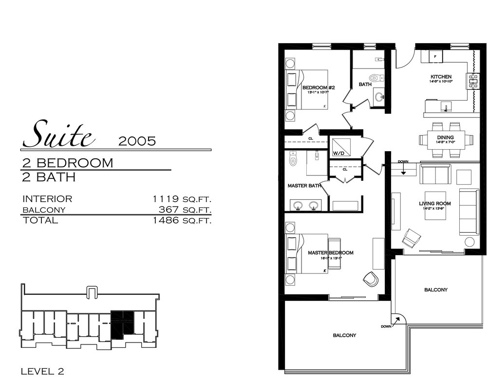 Suite 2005 - $760,000 2 Bedroom, 2 Bathroom - 1,486 sq. ft.