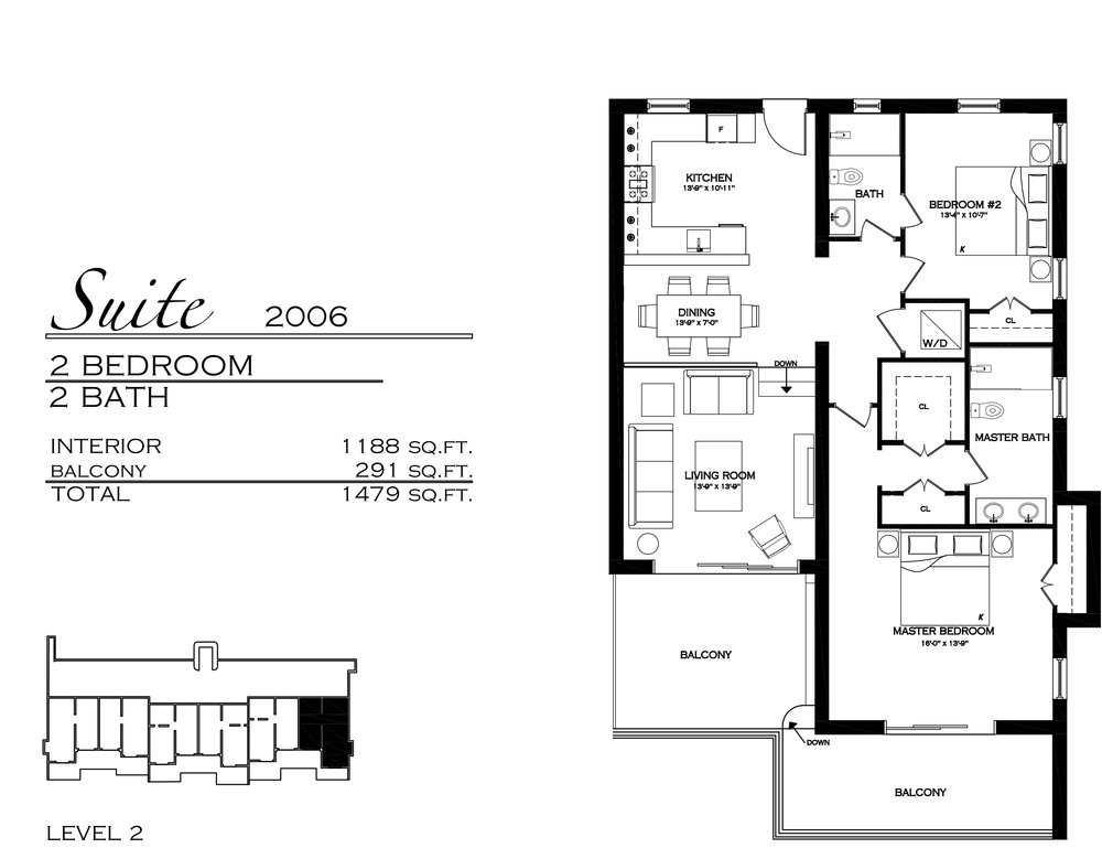 Suite 2006 - $810,000 2 Bedroom, 2 Bathroom - 1,479 sq. ft.