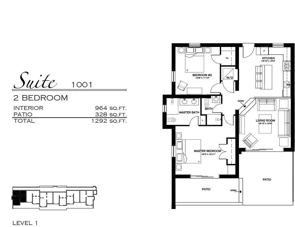 Suite 1001 - $605,000 2 Bedroom, 1.5 Bathroom - 1,292 sq. ft.