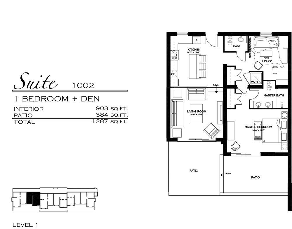Suite 1002 - $570,000 1 Bedroom + Den, 1.5 Bathroom - 1,287 sq. ft.