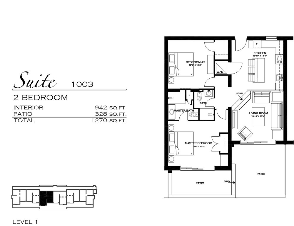 Suite 1003 - $605,000 2 Bedroom, 1.5 Bathroom - 1,270 sq. ft.