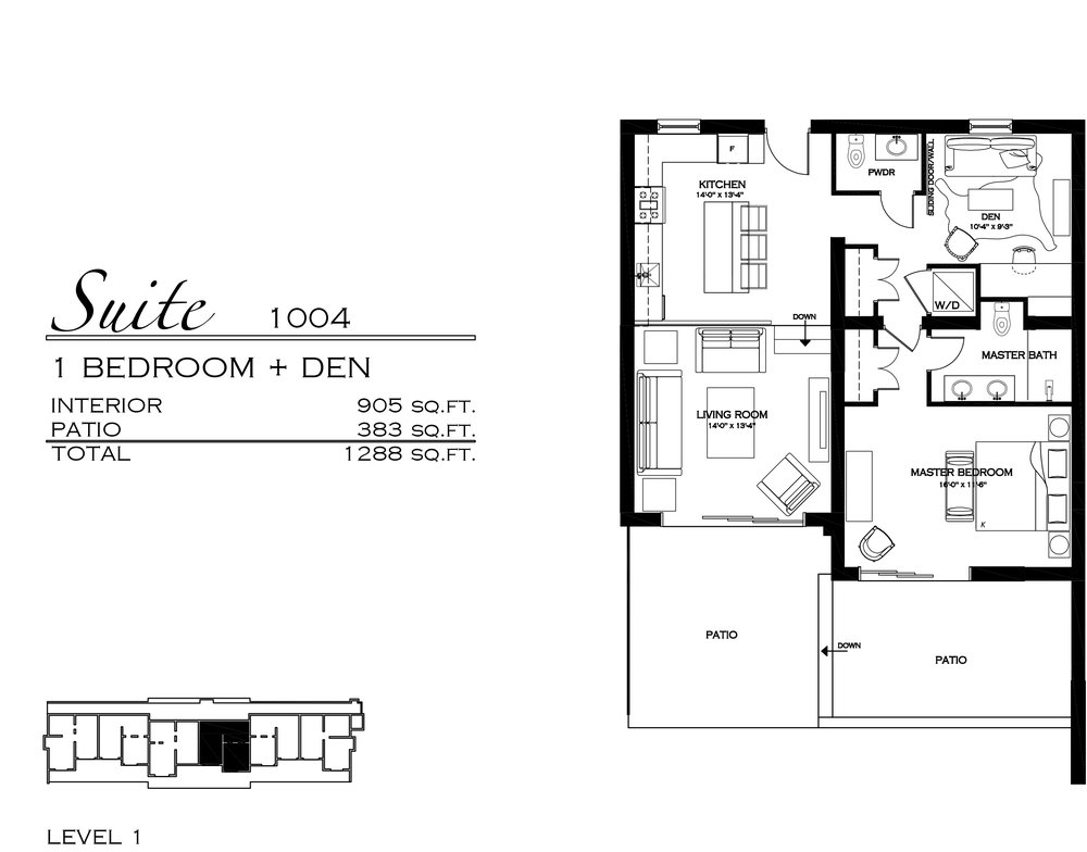 Suite 1004 - $570,000 1 Bedroom + Den, 1.5 Bathroom - 1,288 sq. ft.