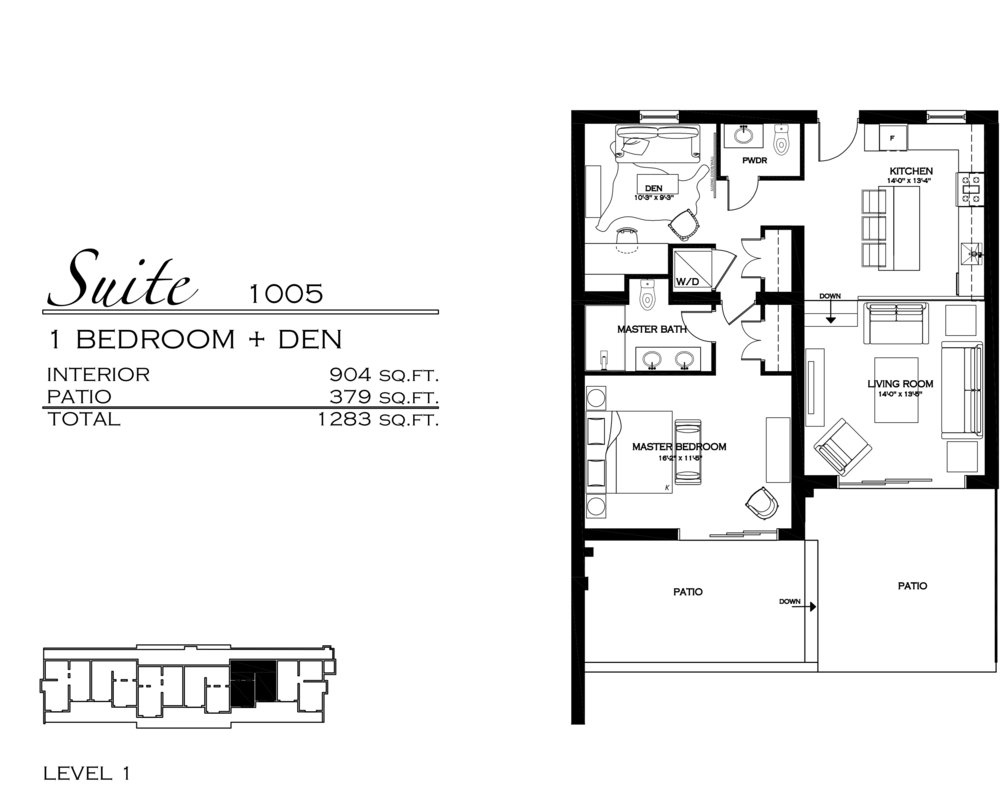 Suite 1005 - $570,000 1 Bathroom + Den, 1.5 Bathroom - 1,283 sq. ft.