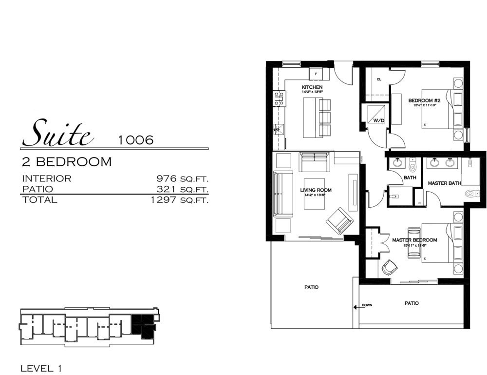 Suite 1006 - $605,000 2 Bedroom, 2 Bathroom - 1,297 sq. ft.