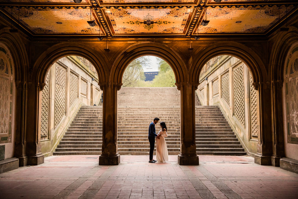 Maternity portrait at Bethesda Terrace in Central Park in Manhattan
