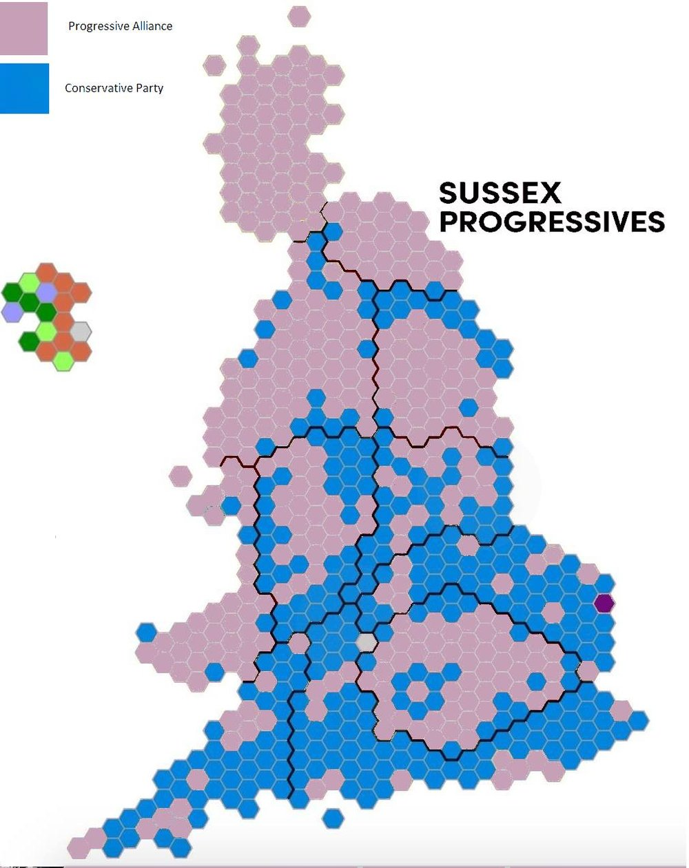 A hypothetical map of the 2015 election, if Labour, SNP, Lib Dems, Greens and Plaid had contested as a Progressive Alliance.