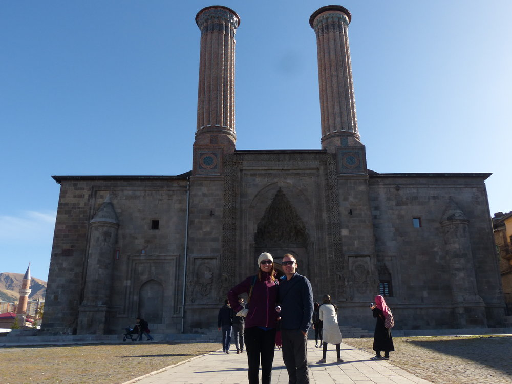 Enjoying a day as tourists in front of Çifte Minareli Medrese (1265), Ezurum.