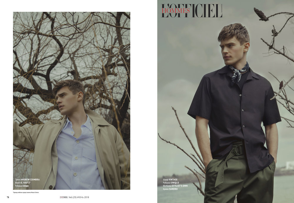 The Khaki raglan trench coat makes an appearance in the new editorial by  Clément Berrin  for L'Officiel  Hommes Kazakhstan , styled by  Garrett Naccarato  🌾