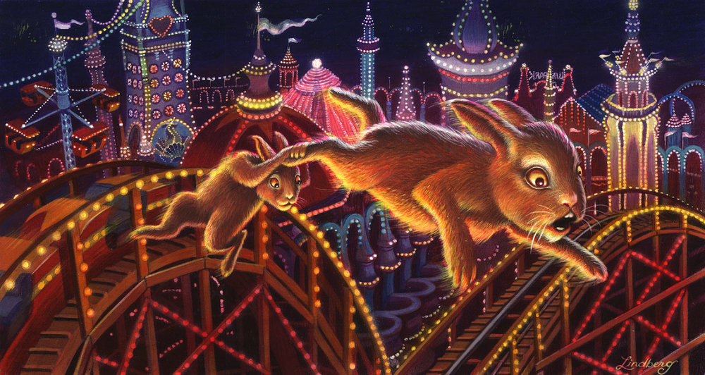 Sister & Brother Rabbit - Flying over Luna Park!