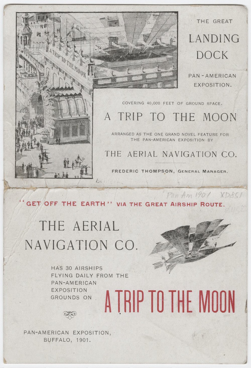 "Original brochure for the ""Trip to the Moon"" at the Pan-American Exposition in Buffalo in 1901"