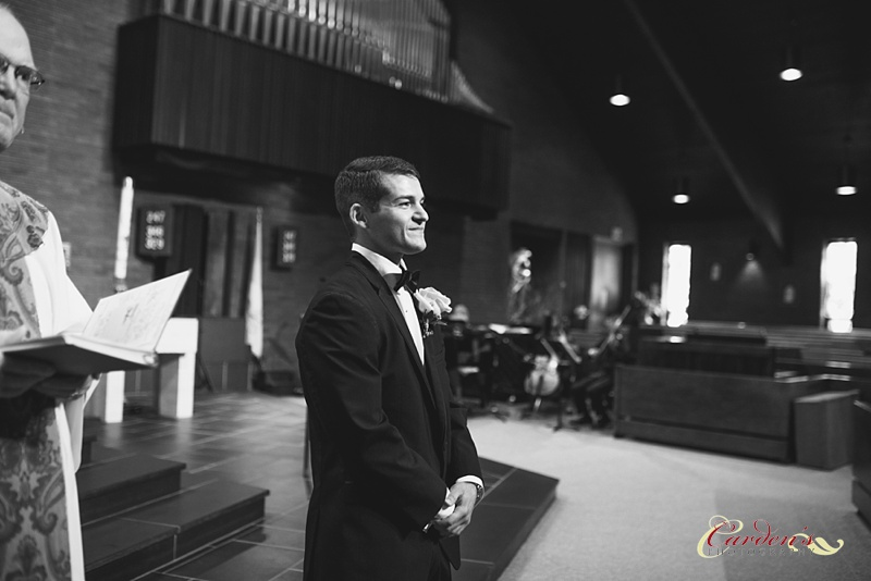 Brian was pretty happy to see his beautiful bride heading down the aisle.
