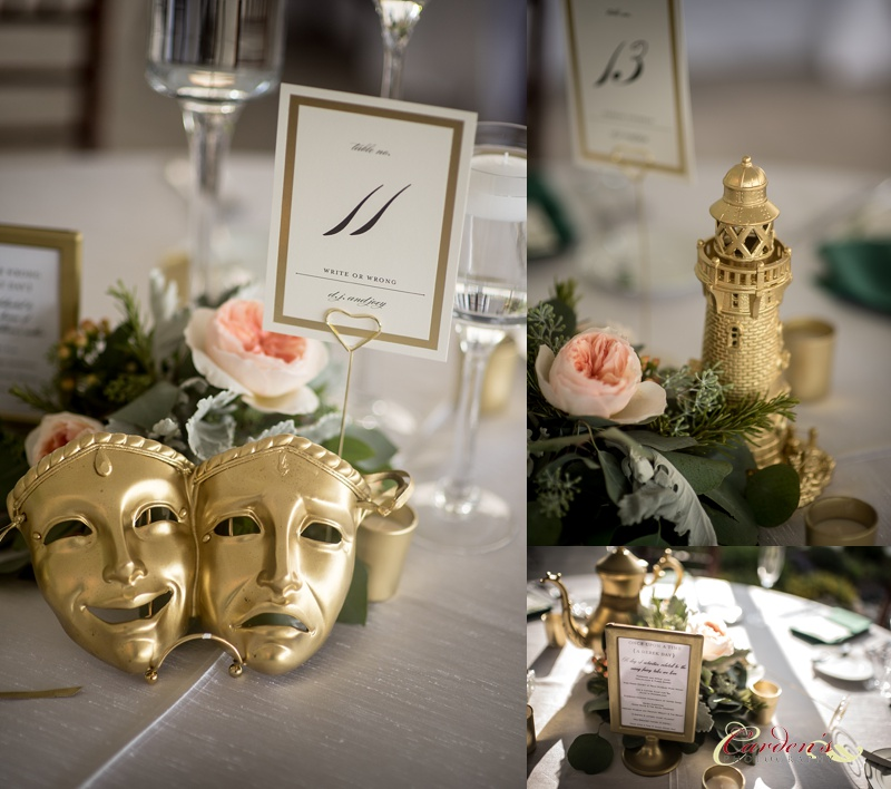 Each gold painted centerpiece was hand selected for their special meanings.