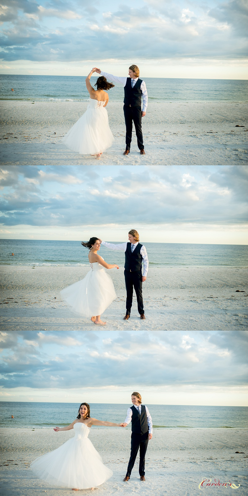 Sometimes you just have to dance on the beach.  To break up portraits with the bride and groom, I will often ask them to do something different, dancing, tickling whatever works!