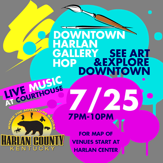 Want a great, fun, unique way to explore downtown Harlan?! Make plans to come to the Downtown Harlan Gallery Hop! We are going to turn your favorite downtown restaurants, shops, and other businesses into art galleries! All the art galleries will be free for viewing! Start at the Harlan Center to grab a map of the various venues and then explore YOUR downtown! SHARE so we can make this the best art event Harlan has ever seen!  There will be eight different locations for the art: -Harlan Center (Children/Teenager exhibit) -The Portal -Sports Cafe -Perfect Ten -The Library -The Courthouse -Hog Heaven -Harlan Portrait Studio