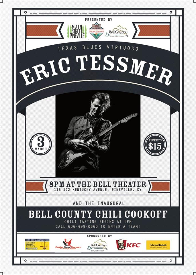 Big news! We have partnered up with Main Street Pineville, Bell County KY Tourism, and Bell County Chamber of Commerce to bring you a countywide concert! Texas blues virtuoso, Eric Tesser, will take the stage at Bell Theater on March 3. We will have a Chili Cook-off in the Pineville Square in the afternoon leading up to the concert. Come one, come all, to the first of many countywide partnerships in 2018! Who is as excited as we are!?!  #BellCountyProud #UnitedWeStand  Tickets to the event can be purchased at this link:https://www.eventbrite.com/e/eric-tessmer-live-at-the-bell-theater-tickets-42326595988 — at Bell Theater.