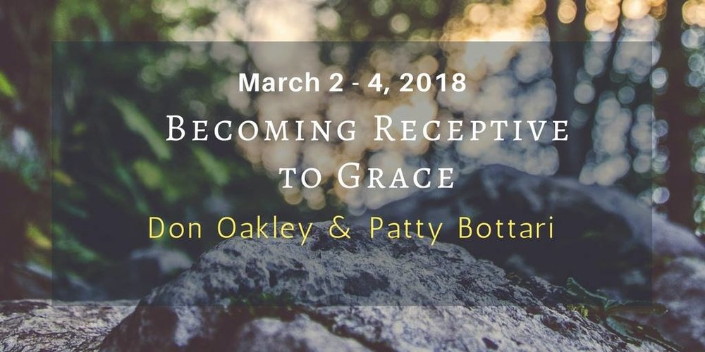 "Well Being Retreat Center   557 Narrows Road, Tazewell, Tennessee 37879  ""Becoming Receptive to Grace,"" a weekend (mostly) silent meditation retreat with Don Oakley and Patty Bottari.   The event is by donation.   Our task as humans is to make ourselves receptive to Grace. Grace is always available; it is us who are absent. We can't will our way to realization, but by seeing through and clearing out some of the self-made obstacles, we can come into the arena where Grace is waiting - with infinite patience as we go about our busy lives. And then, one day, when striving inexplicably ceases for a split instant, then Grace has an opportunity to rush in and transform us. This weekend is about becoming ""grace-prone.  Please visit this link for more information AND to register:  https://www.wellbeingretreatcenter.org/receptive-to-grace"